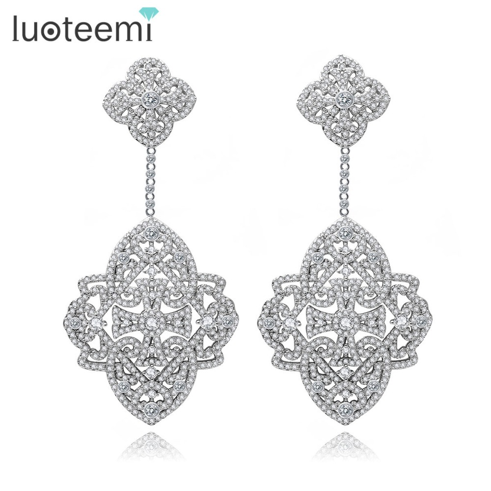 LUOTEEMI New Elegant font b Earrings b font Big Square CZ Crastal Flower Shape Drop Brincos