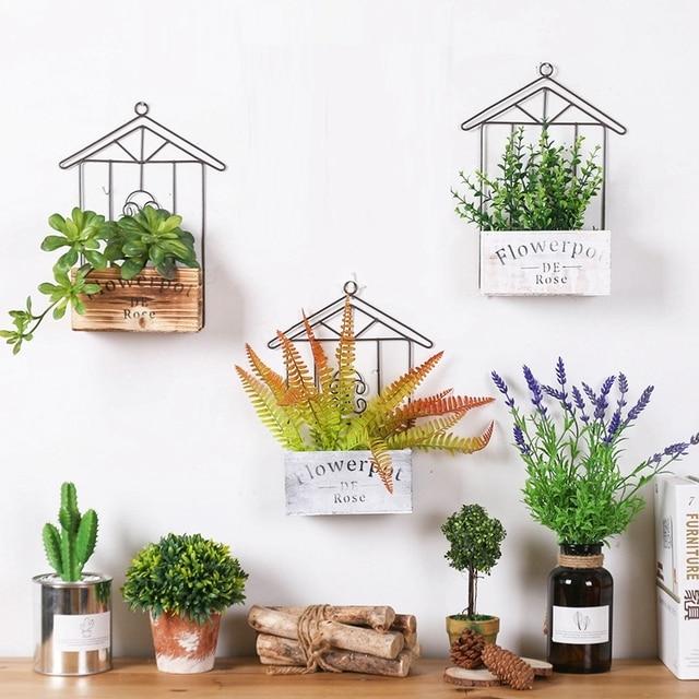 Rumah Kayu Dinding Dapur Penyimpanan Rak Hiasan Pot Bunga Pemegang Unik Yang Modern