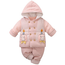 YiErYing Baby winter Thicken Clothes Set 3 piece Soft Cotton Cartoon Style baby Girl Boy Clothing Infant Set New Toddler Costume цена 2017
