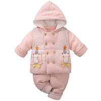 YiErYing Baby winter Thicken Clothes Set 3 piece Soft Cotton Cartoon Style baby Girl Boy Clothing Infant Set New Toddler Costume