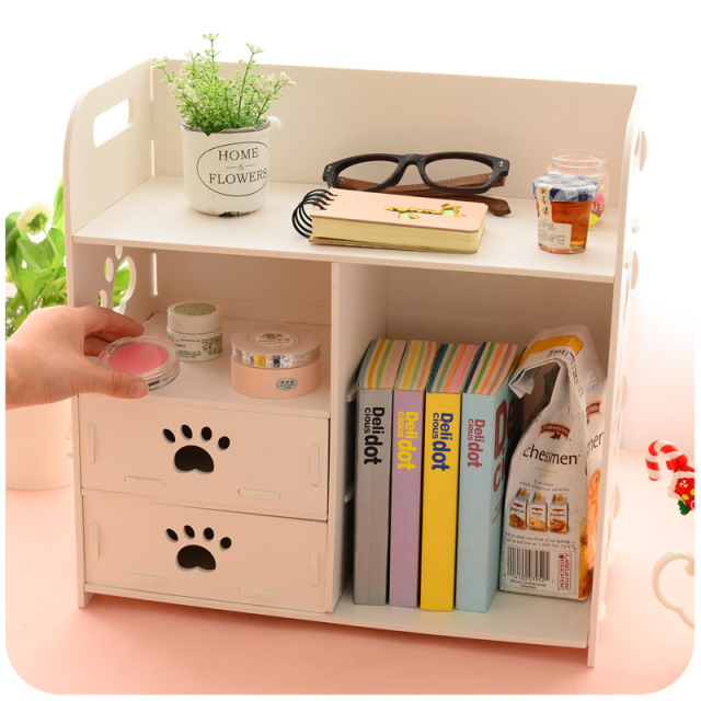 DIY Modern White Wooden Storage Box Desk Organizer For Cosmetics,Desktop  Storage Shelf Cabinet Wood