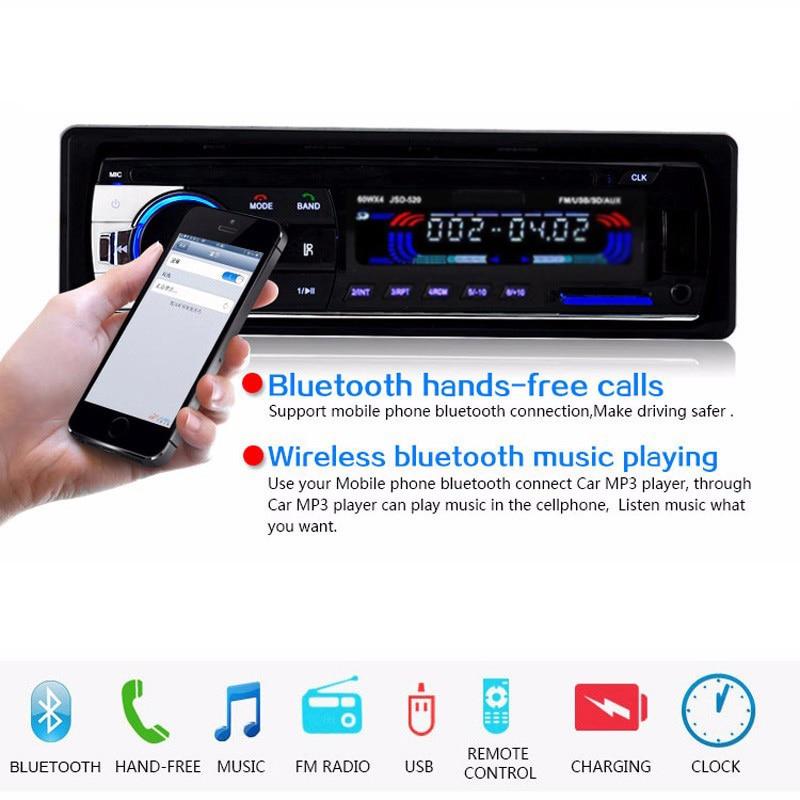 Autorádio Autorádio FM Rádio Přehrávač MP3 12V Bluetooth Car Audio Stereo přehrávač In-dash 1 Din FM Aux Vstupní přijímač SD USB MMC WMA