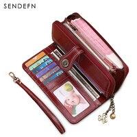 2017 New Vintage Style Women Clutch Large Capacity Wallet Split Leather Wallet Female Long Wallet Women