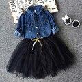 Meninas 2 Pcs definido azul denim blusa conjuntos de vestido Tutu conjuntos de roupas jeans sólidos camisa das meninas roupas de bebê meninas roupas da moda definido
