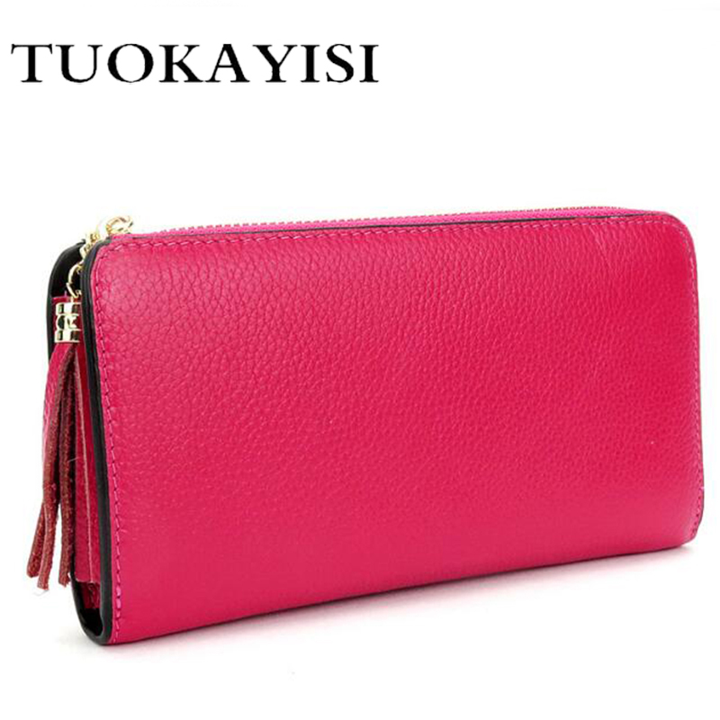 цена на New women genuine leather wallets for money and cards designer brands top fashion zipper long womens wallets leather clutch bags