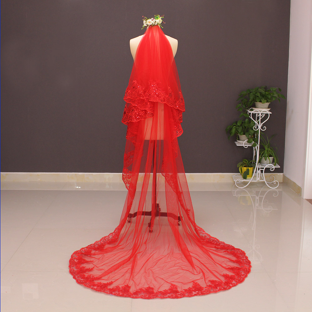 Verkliga bilder Två lager Sequined snörning Röd bröllopsslure med - Bröllopstillbehör - Foto 2