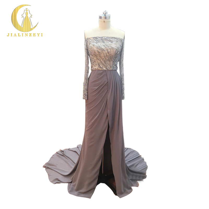JIALINZEYI New Sexy Boat Neck Grey Long Sleeves Beads Sequins Chiffon Slit Mermaid Party Formal Dresses  Evening Dresses 2017