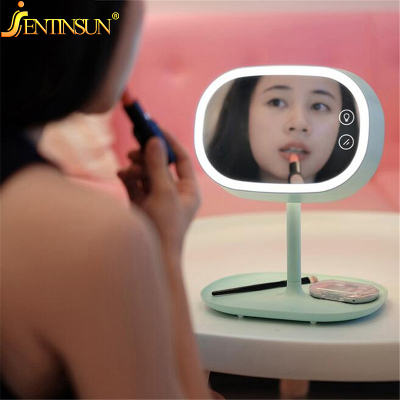 New Creative LED Lamp Make Up Mirror Night Lights Illuminator Smart Home Lights Fashion Table Lamps for Birthday Christmas Gift yimia creative 4 colors remote control led night lights hourglass night light wall lamp chandelier lights children baby s gifts