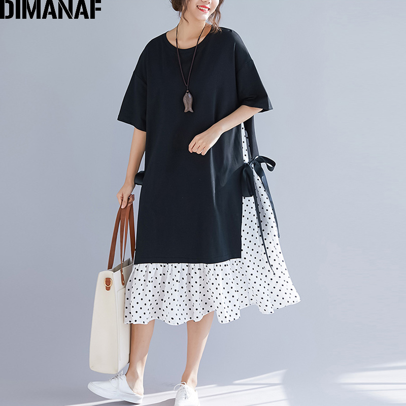 DIMANAF Plus Size Women Dress Summer Sundress Fashion Print Dot Cotton Female Lady Vestidos Spliced Black Loose Beach Dress 2020