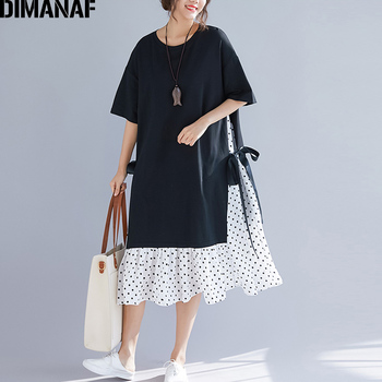 37ab1e209423 DIMANAF женское платье большого размера летний сарафан с модным принтом в  горошек, хлопковое женское платье Vestidos, черное свободное пляжное пла.