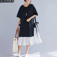 DIMANAF Plus Size Women Dress Summer Sundress Fashion Print Dot Cotton Female Lady Vestidos Spliced Black Loose Beach Dress 2019