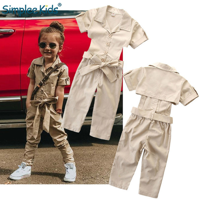 2019 Summer Children Girls Clothes Sets Khaki Slim Fit Overalls Cute Toddler kids Jumpsuit Short Sleeve British Style Trousers