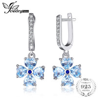 JewelryPalace 2 3ct Heart Shape Natural Sky Blue Topazs Dangle Earrings 925 Sterling Silver Jewelry Flower
