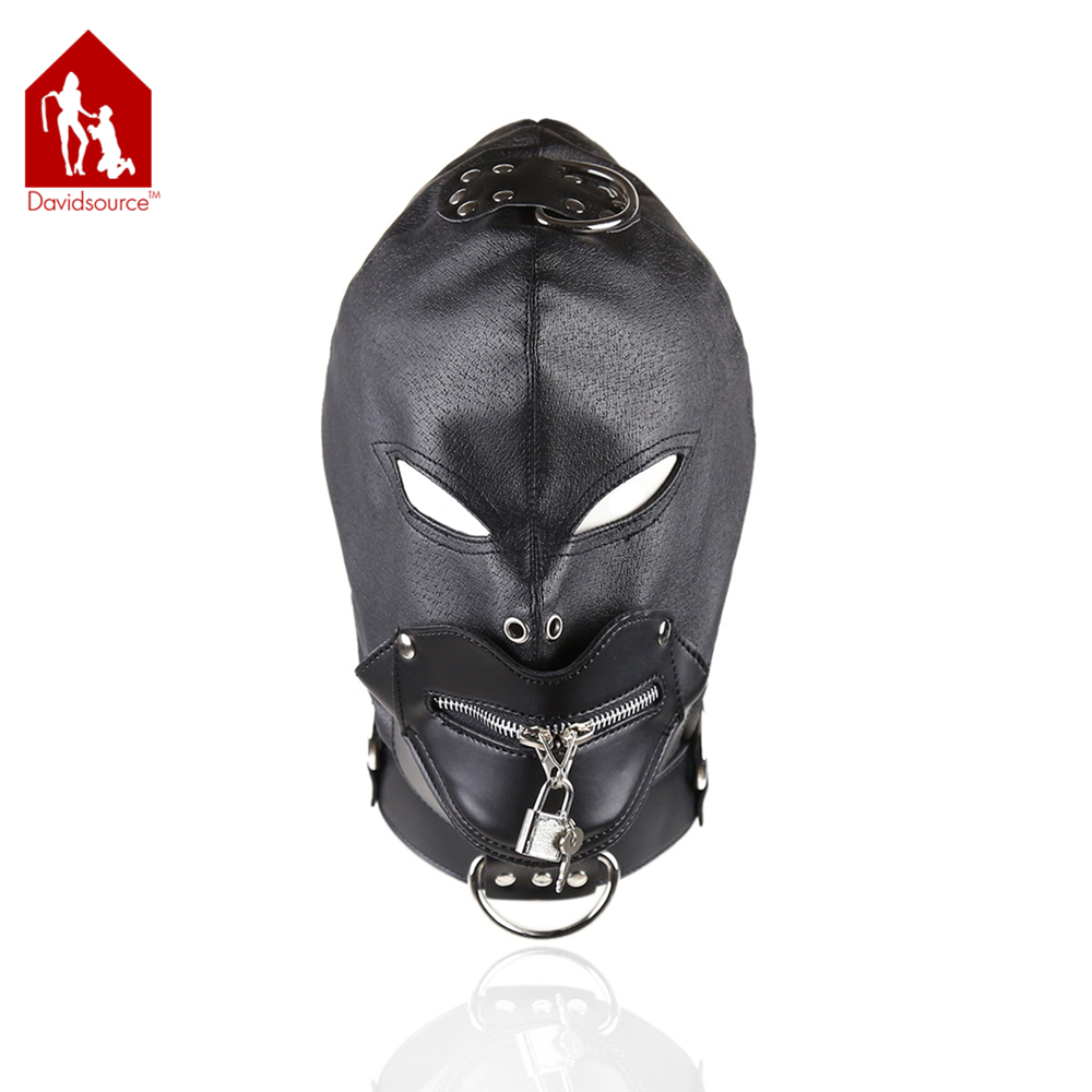 Davidsource Lace-up Leather Hood With Eye Holes & Mouth Zipper Breathable Mask Sub Slave Restraint Kit Bondage Fetish Sex Toy
