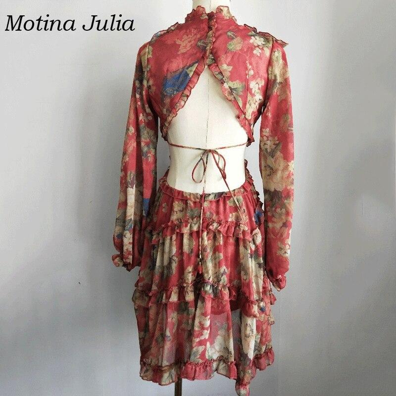 Robe Motina Manches Mini Plage Femmes Print Julia À Boho Imprimé Longues Volants Floral Mode La 2018 86SOvr8