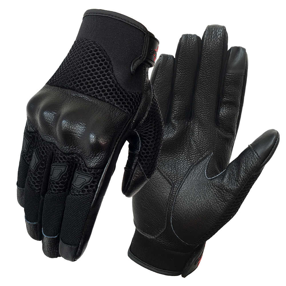 Motorcycle Gloves Leather Touch Men Hi-flow Mesh Goatskin Breathable Cycling Riding Glove Racing Summer Guantes de moto luvas