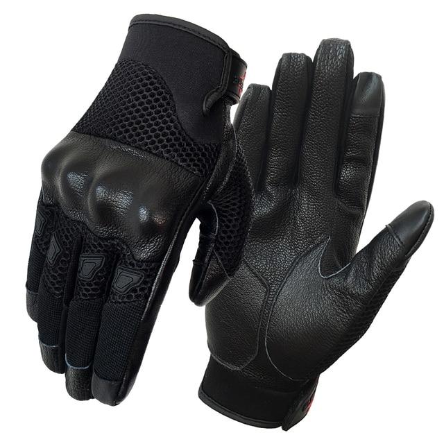 Moto rcycle 手袋革タッチメンズハイフローメッシュゴートスキン通気性サイクリング乗馬グローブレースの夏 Guantes デ moto luvas