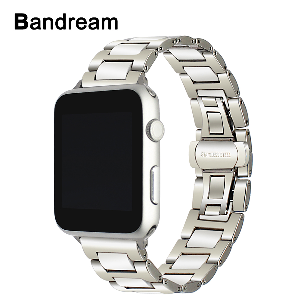 Luxury Ceramic + Stainless Steel Watchband for iWatch Apple Watch 38mm 42mm Series 1 2 3 Band Wrist Strap Link Bracelet Silver eastar milanese loop stainless steel watchband for apple watch series 3 2 1 double buckle 42 mm 38 mm strap for iwatch band