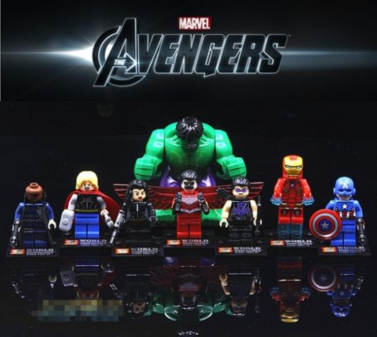 8pcs/Set Marvel The Avengers Iron Man Hulk Thor Super Heroes Building Blocks Brick Figure Minifigures Toys Lepin