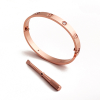 YUN RUO Brand Jewelry Gold Silver Color Classic Screw Couple Bangle Cuff Bracelet 316 L Stainless
