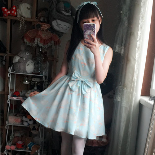 Summer delicate Swan bow printing Lolita fantasy Mesh short sleeved dress bubble sleeve and sleeveless