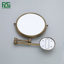 High quality Fashion antique copper retractable Wall bathroom mirror/ 8 inch 3x magnifying wall mounted bath makeup mirror