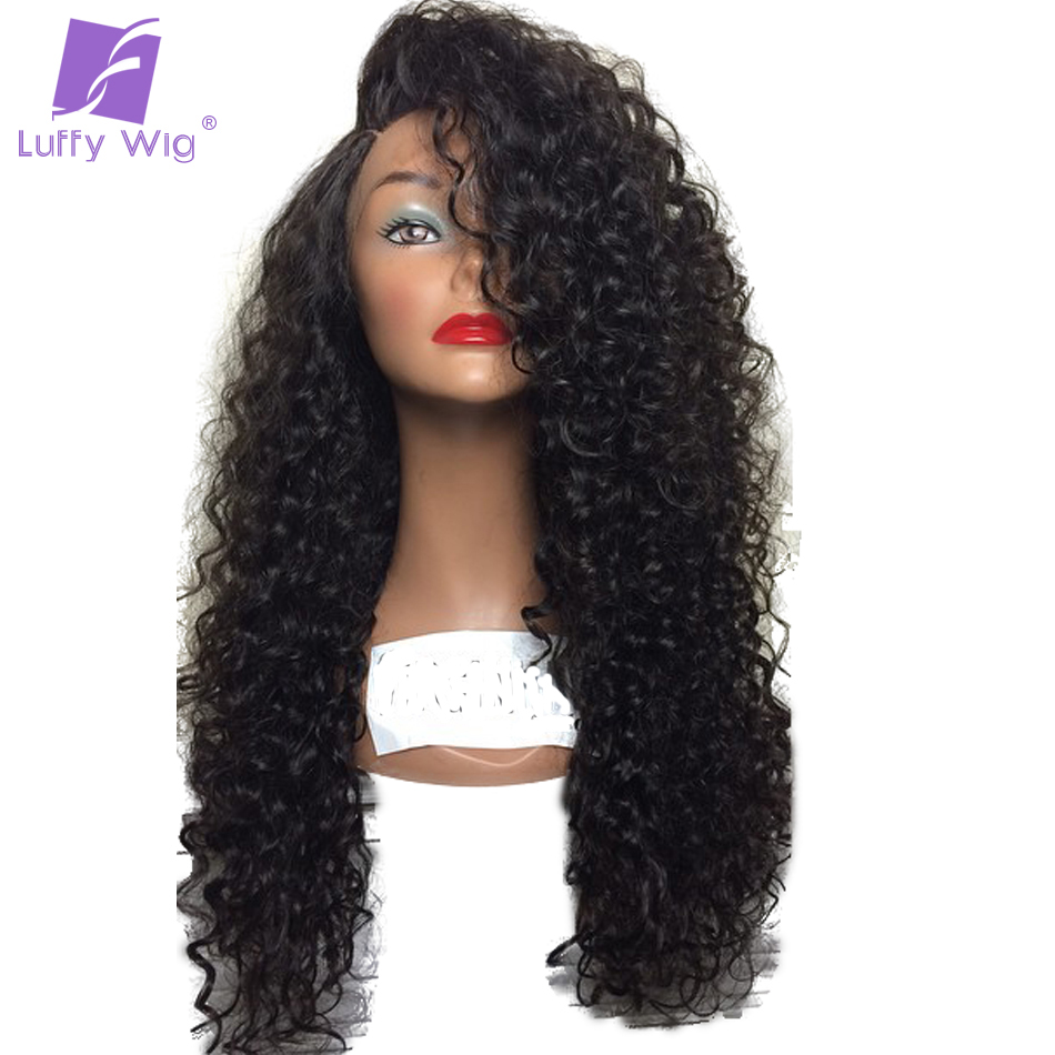Luffy Curly Pre Plucked Brazilian Non Remy Hair Glueless Full Lace Human Hair Wigs With Baby Hair For Black Womem Natural Color