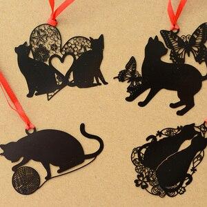 6 pçs/lote Chinês black cat metal marcadores para livros guia Notebook livro marca material Escolar Papelaria marcador de livro F927