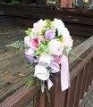Рамос Де Novia Розовый Фиолетовый Дешевые Свадебные Букеты Водопад Розе Искусственный Свадебные Цветы Свадебные Букеты Невесты Букеты 2016
