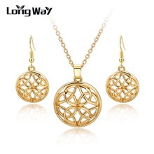 2016  Gifts Austrian Crystal Clover 4 four Leaf 18K White Gold Plate Pendant Necklace Earrings  Fashion Jewelry Sets SET160004