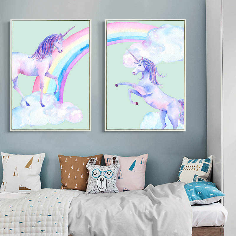 Watercolor Rainbow Unicorn Children Poster Cartoon Canvas Art Prints Art Painting Decorative Picture Kids Living Room Decoration