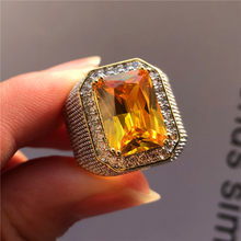 Fashion Big Male Purple Yellow Geometric Ring Crystal White Zircon Stone Engagement Ring 18KT Gold Large Wedding Rings For Men(China)