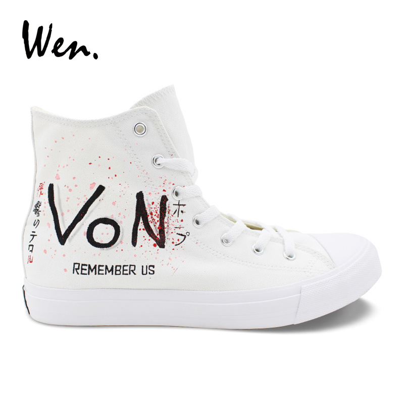 Wen Designer Sneakers Women Hand Painted Shoes Zankyou No Terror Anime Cosplay Shoes White Canvas Top High Plimsolls Lacing Flat цены онлайн