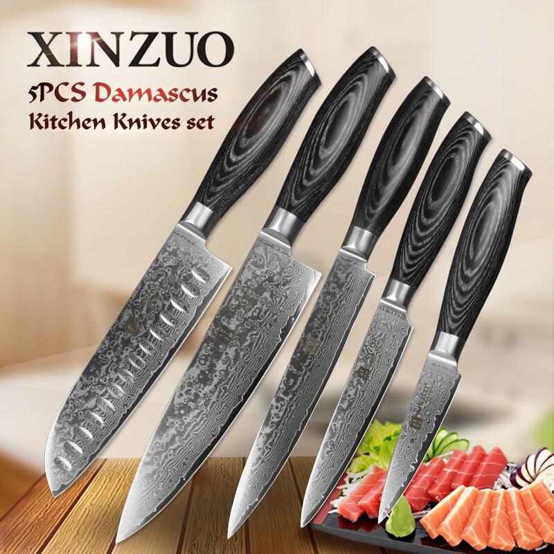 XINZUO 5 pièces Cuisine ensemble de couteaux 67 Couche Japonais VG10 Acier Damas Couperet Viande Chef Utilitaire couteaux de cuisine Bois Pakka Poignée