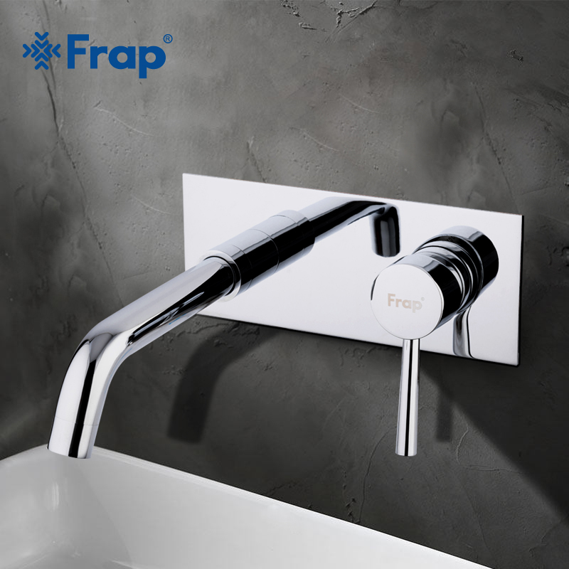 FRAP New products Bathroom Wall Mounted Basin Faucet Square Chrome Brass Mixer Sink Tap Single Handle