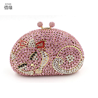 Xiyuan merk vrouwen 2017 luxe en goedkoopste sparkle volledige diamond cat avond hand tassen vrouwelijke mode clutch meisjes portemonnee