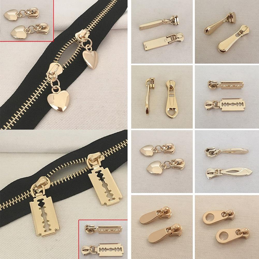 1 Pc High Quality Metal Gold And Silver Zipper Slider Head Puller DIY Handwork Bag Luggage Zipper Slider