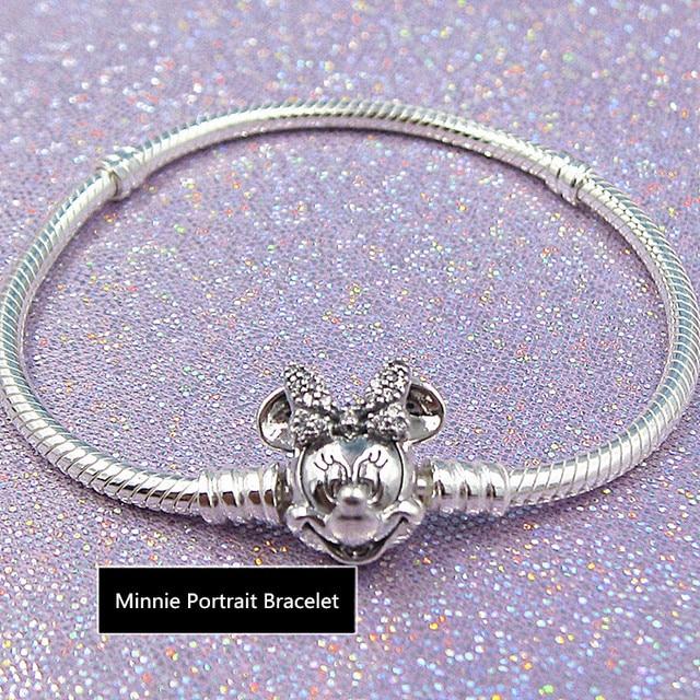 2019 NEW! Perfect Charm Carved silver jewelry Shimmering Minnie Portrait Bracelet women bangle bracelet cz, 1pz