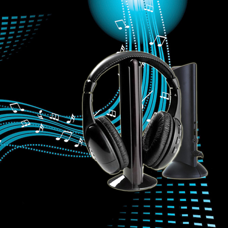 Marsnaska Hot Sale 5 in 1 Wireless Headphones Watch Tv Earphone Cordless Headset for MP3 PC Stereo TV FM iPod 5 in 1 wireless headphone fm radio monitor hi fi stereo headset for tv black