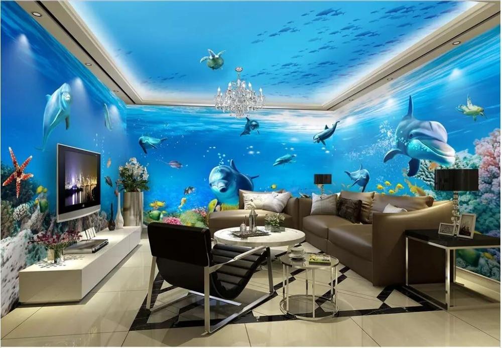3d Room Wallpaper Custom Photo Underwater World Dolphin
