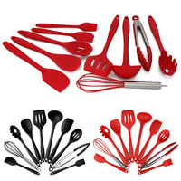 10pcs kitchen tools cooking tools accessories silicone non stickware cutlery set kitchen cooking spoon pot shovel egg blender