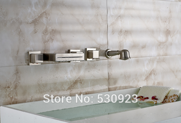 New Arrival Brushed Nickle Bathroom Tub Faucet Waterfall Bathtub Faucet Mixer Tap W/ Hand Shower Sprayer Three Square Handles new wall mounted dual handles three holes led light bathroom tub faucet brushed nickle waterfall shower bathtub faucet mixer tap