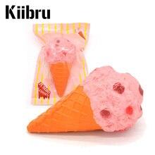1PCS Kiibru Jumbo Pink Ice Cream Cone Squishy Kawaii Scented Super Slow Rising