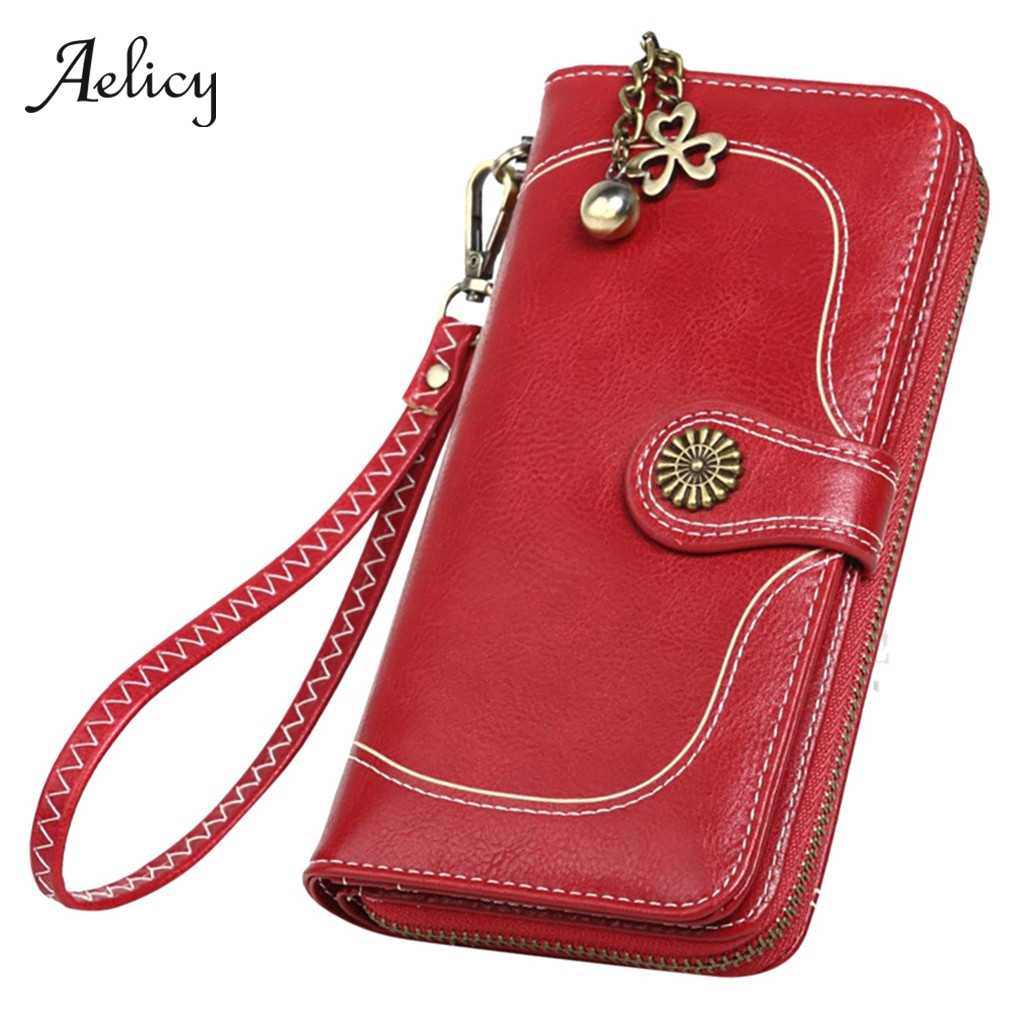 Aelicy Women Solid Long Wallet With Strap Phone Bag Top Quality Female Zipper Wallet Ladies Long Purse Multifunction Money Bag