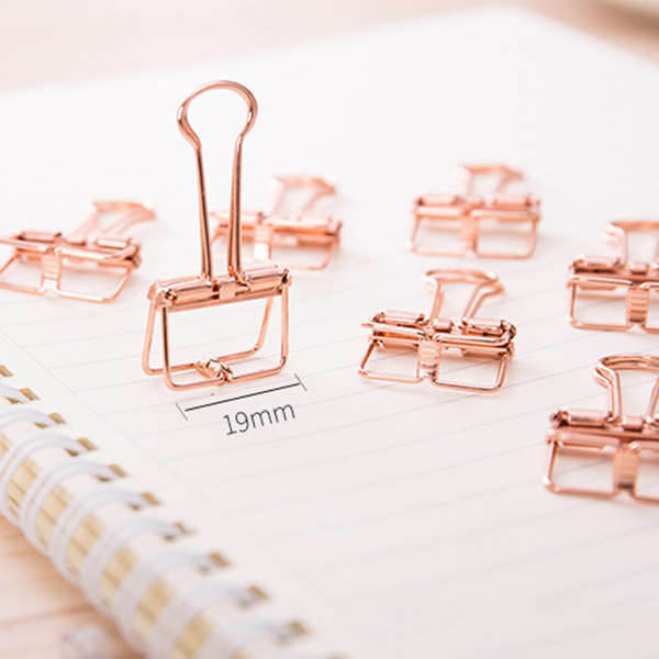 Rose Gold Hollowed Out Design Binder Clip For Office School Paper Organizer Stationery Supply Decorative Metal Clips