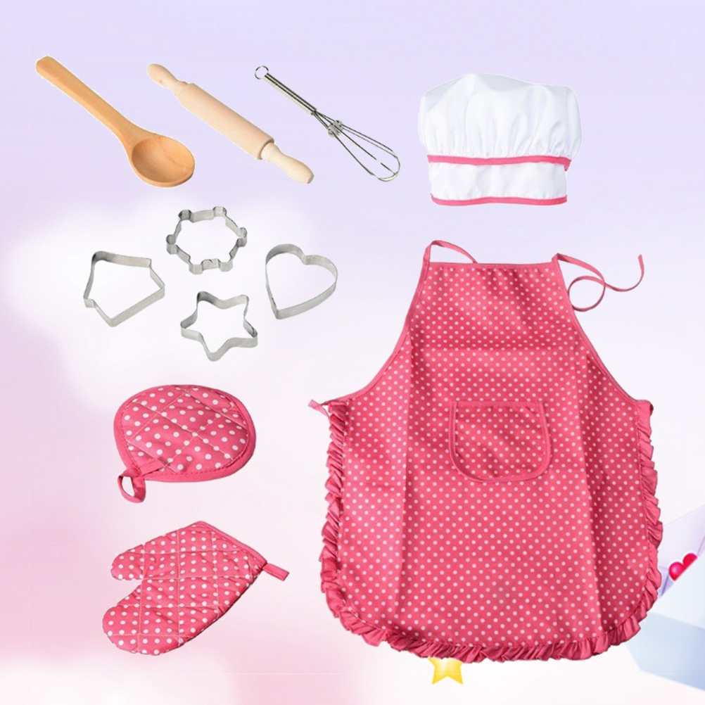 11Pcs Set Kitchen Toy Children Cooking Utensils Kitchen Supplies Set Chef Set For Kids Cooking Play Set With Apron Chef Hat Hot in Kitchen Toys from Toys Hobbies