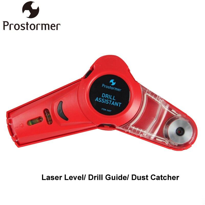 PROSTORMER multifunción taladro guía línea ángulo cuadrado nivel láser profesional ayudante de perforación colector de polvo
