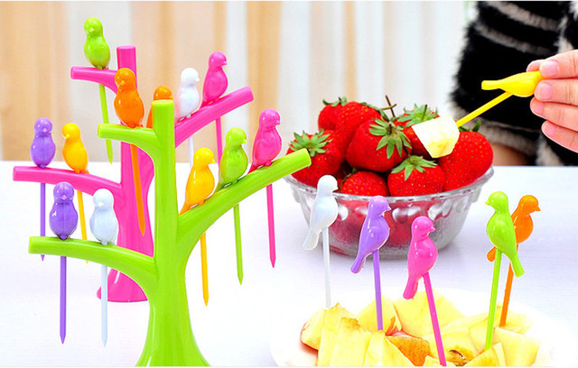 1 Set Tree Shaped Bird Tree Toothpick Holder Fruit Fork For Party Home Decor