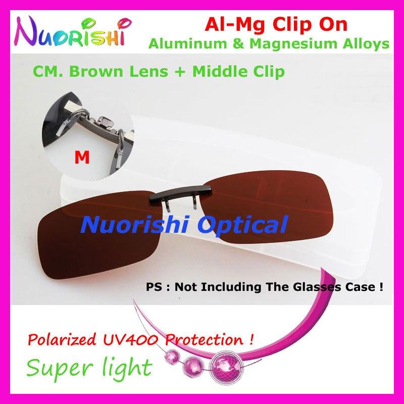 10 шт. сплава al-mg поляризованные Очки очков 7 цветов UV400 линзы клип на для малого и среднего Размеры зажимы cp07 - Цвет линз: CM Brown