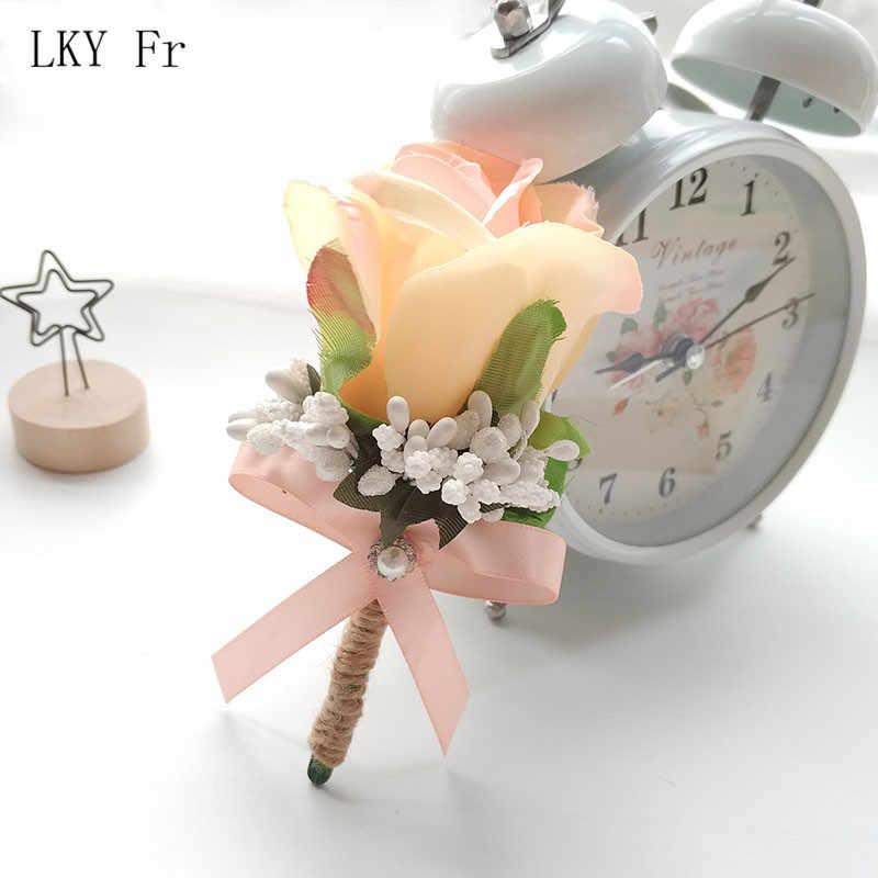 LKY FR Boutonniere Korsase Pin Bunga Pernikahan Groom Boutonniere Lubang Kancing Bridesmaid Bunga Gelang Pernikahan Saksi Korsase
